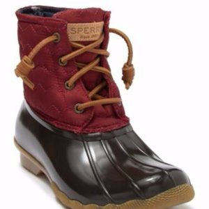 NEW Sherry Saltwater Quilted Duck Boot Wine 5.5